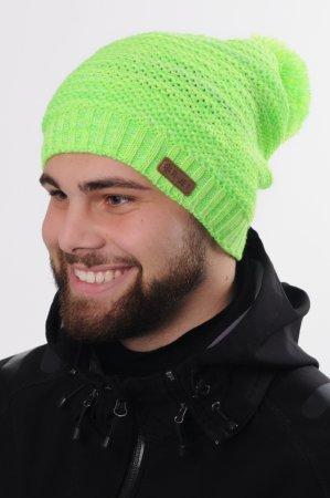 Svítivě zelená prodloužená zimní pletená čepice s bambulí pro dámy i pány