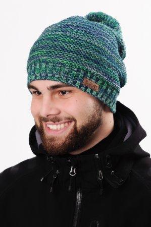Prodloužená zelená pánská zimní pletená čepice s bambulí