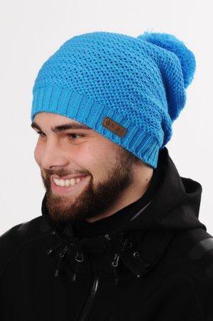 Prodloužená jasně modrá pánská zimní pletená čepice s bambulí