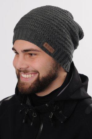 Prodloužená antracitově šedá pánská zimní pletená čepice