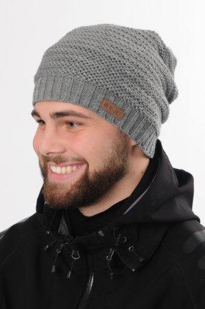 Prodloužená světle šedá pánská zimní pletená čepice