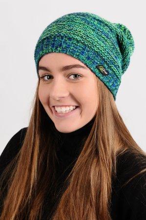 Prodloužená dámská zimní pletená čepice s bambulí