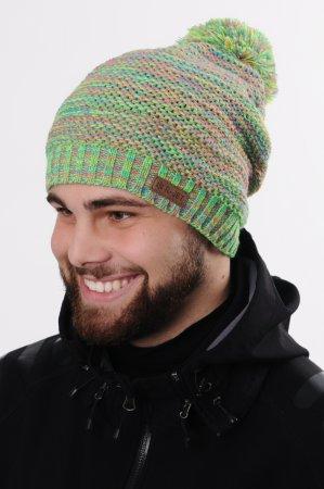 Prodloužená melírovaná zelená pánská zimní pletená čepice s bambulí