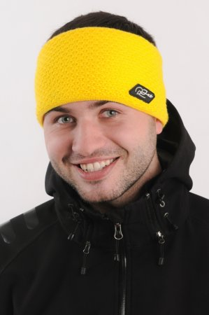 Pánská zimní pletená široká žlutá čelenka