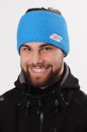 Pánská zimní pletená široká jasně modrá čelenka