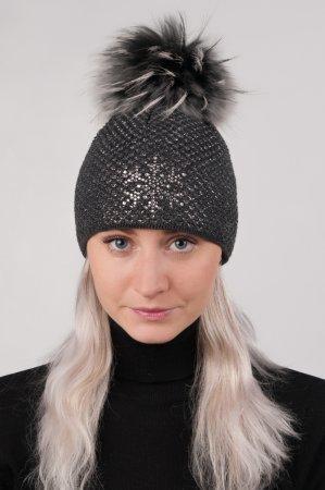 Antracitově šedá dámská zimní pletená čepice s pravou kožešinovou bambulí