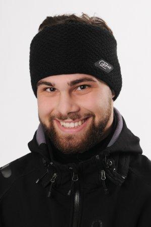 Pánská zimní pletená široká černá  čelenka