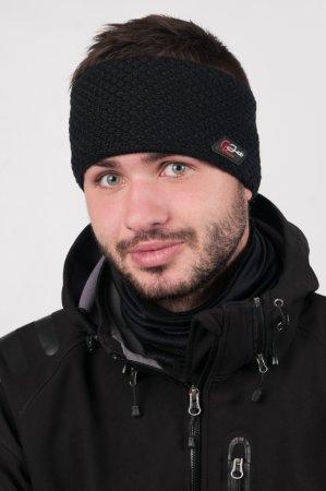 Pánská zimní pletená černá čelenka