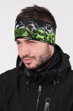 Černá sportovní outdoorová čelenka se zeleno-bílým potiskem hor OSMITISÍCOVKY