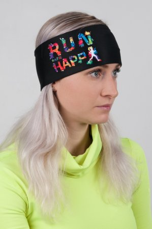 Černá sportovní outdoorová čelenka HAPPY RUN