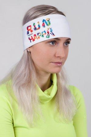 Bílá sportovní outdoorová čelenka HAPPY RUN