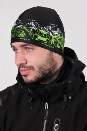 Černá sportovní outdoorová čepice se zeleno-bílým potiskem hor OSMITISÍCOVKY
