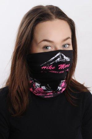 Černá sportovní outdoorová čepice s růžovo-bílým potiskem hor OSMITISÍCOVKY