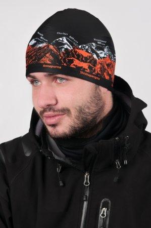 Černá sportovní outdoorová čepice s oranžovo-bílým potiskem hor OSMITISÍCOVKY