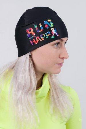 Černá sportovní outdoorová čepice HAPPY RUN