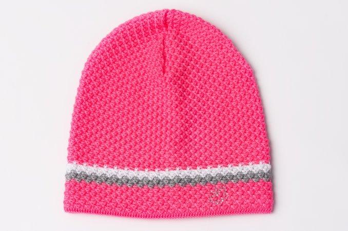 Svítivě růžová prodloužená dětská zimní čepička pro holčičky