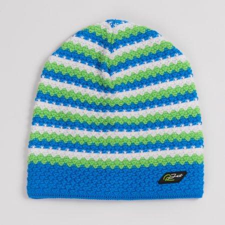 Modro-zelená dětská zimní prodloužená čepičkapro kluky barevnými proužky