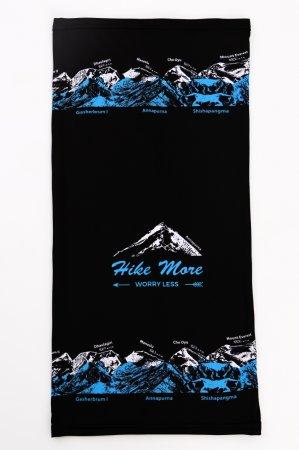 Černý multifunkční sportovní nákrčník-tubus s modro-bílým potiskem hor OSMITISÍCOVKY