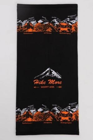 Černý multifunkční sportovní nákrčník-tubus s oranžovo-bílým potiskem hor OSMITISÍCOVKY