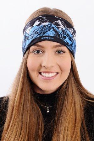 Černá sportovní outdoorová čelenka s modro-bílým potiskem hor OSMITISÍCOVKY