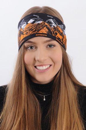 Černá sportovní outdoorová čelenka s oranžovo-bílým potiskem hor OSMITISÍCOVKY