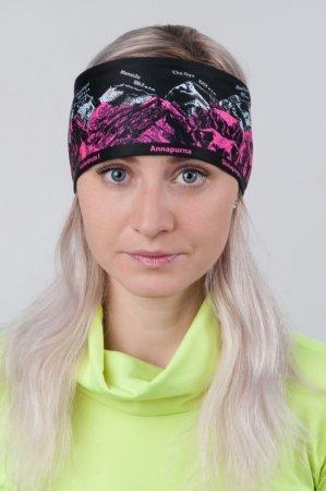 Černá sportovní outdoorová čelenka s růžovo-bílým potiskem hor OSMITISÍCOVKY
