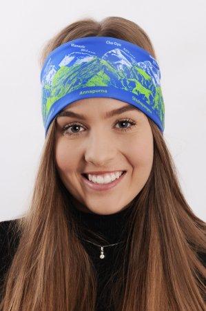Modrá sportovní outdoorová čelenka se zeleno-bílým potiskem hor OSMITISÍCOVKY