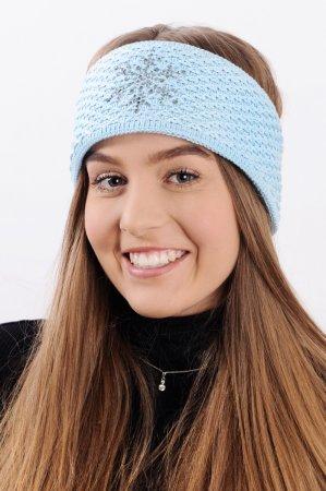 Bledě modrá dámská zimní pletená čelenka