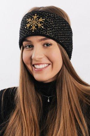Černá dámská zimní pletená čelenka se zlatou lesklou nitkou a kamínky