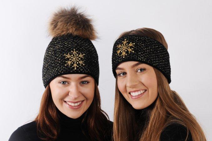 Černý dámský exkluzivní pletený set čepice a čelenka