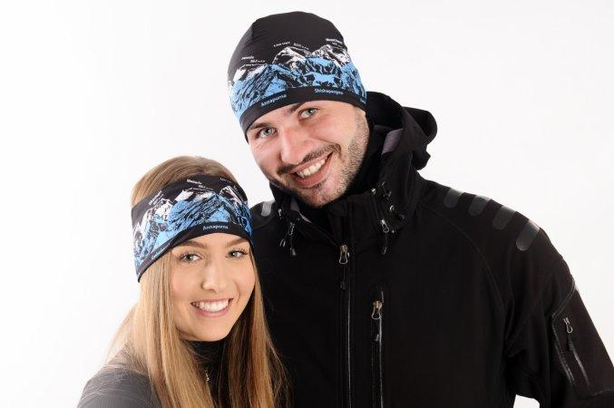 Sportovní outdoorový set UNISEX černá čepice a čelenka pro dámy i pány
