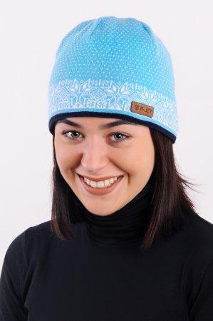 Modrá dámská zimní pletená čepice s žakárovým vzorem