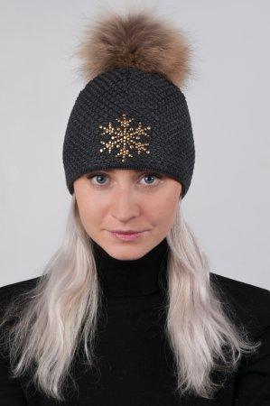 Antracitově šedá dámská zimní pletená čepice se zlatou vločkou a pravou kožešinovou bambulí
