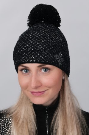 Černá dámská zimní pletená čepice se stříbrnou nitkou a s bambulí