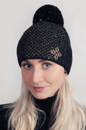 Černá dámská zimní pletená čepice se zlatou lesklou nitkou a s bambulí