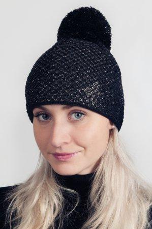 Černá dámská zimní pletená čepice s bronzovou lesklou nitkou a s bambulí