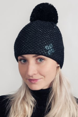 Černá dámská zimní pletená čepice s černo-modrou lesklou nitkou a s bambulí