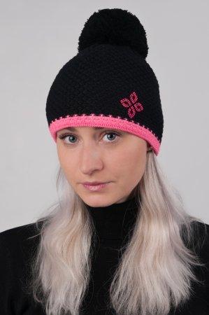 Černá dámská zimní pletená čepice s růžovým proužkem a s bambulí