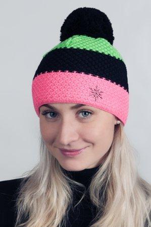 Dámská zimní pletená čepice s pruhy růžová-černá-zelená a s bambulí