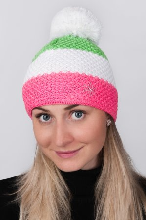 Dámská zimní pletená čepice s pruhy růžová-bílá-zelená a s bambulí
