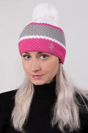 Dámská zimní pletená čepice s  pruhy růžová-šedá-bílá a s bambulí