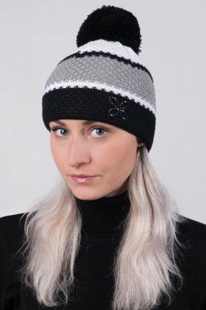 Dámská zimní pletená čepice s pruhy černá-šedá-bílá a s bambulí