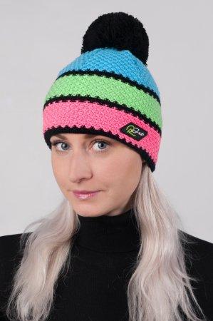 Dámská zimní pletená čepice s pruhy růžová-zelená-modrá a s bambulí