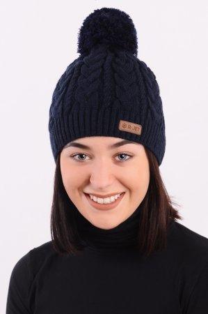 Modrá dámská zimní pletená čepice s copany a s bambulí
