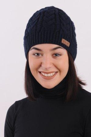 Modrá dámská zimní pletená čepice s copany