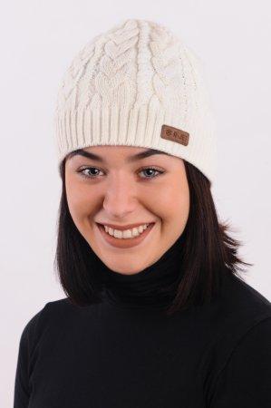 Přírodně bílá dámská zimní pletená čepice s copany