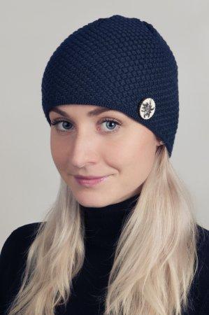 Modrá dámská zimní pletená čepice s broží