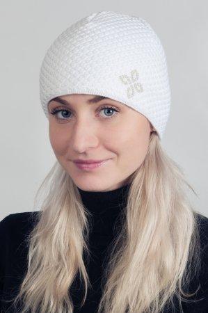 Bílá dámská zimní pletená čepice s kamínky
