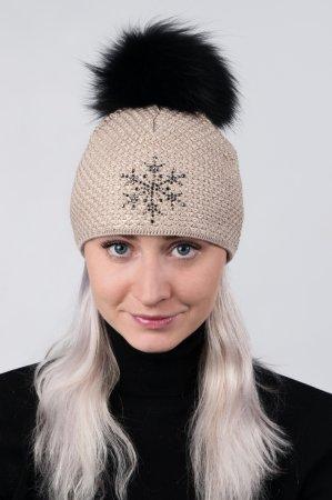 Béžová dámská zimní pletená čepice s pravou kožešinovou bambulí