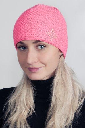 Růžová dámská zimní pletená čepice s kamínky